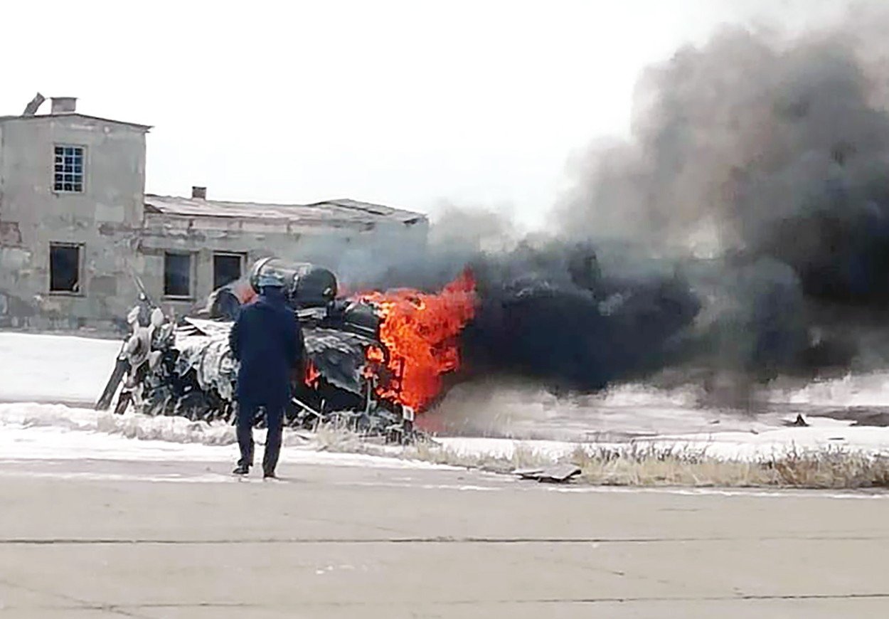 The helicopter was hovering at 15 metres above the ground to test engines when the tragedy struck, Image: 522392959, License: Rights-managed, Restrictions: , Model Release: no, Credit line: social media / East2West News / Profimedia