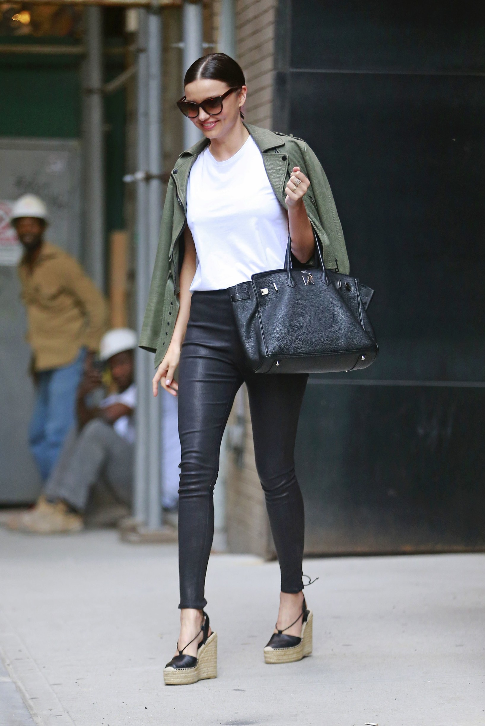 152840, Miranda Kerr wears leather pants and wedge espadrilles while exiting a photostudio in Tribeca, NYC. The model recently took the plunge and bought a house with her billionaire Snapchat CEO boyfriend, Evan Spiegel. New York, New York - Wednesday May 25, 2016., Image: 286811447, License: Rights-managed, Restrictions: , Model Release: no, Credit line: PacificCoastNews / Pacific coast news / Profimedia