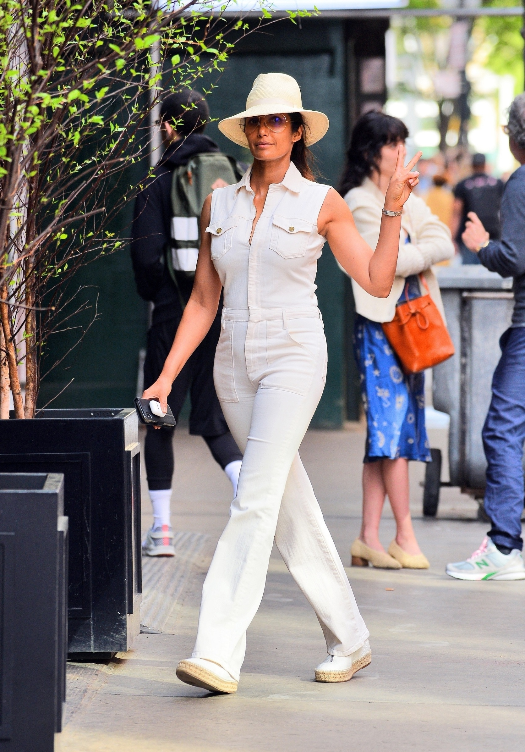 New York, NY -  - *EXCLUSIVE*  - Padma Lakshmi looks stylish in a safari inspired outfit as she steps out on a sunny day in NYC.  Pictured: Padma Lakshmi    *UK Clients - Pictures Containing Children Please Pixelate Face Prior To Publication*, Image: 427796736, License: Rights-managed, Restrictions: , Model Release: no, Credit line: Jawad Elatab / BACKGRID / Backgrid USA / Profimedia