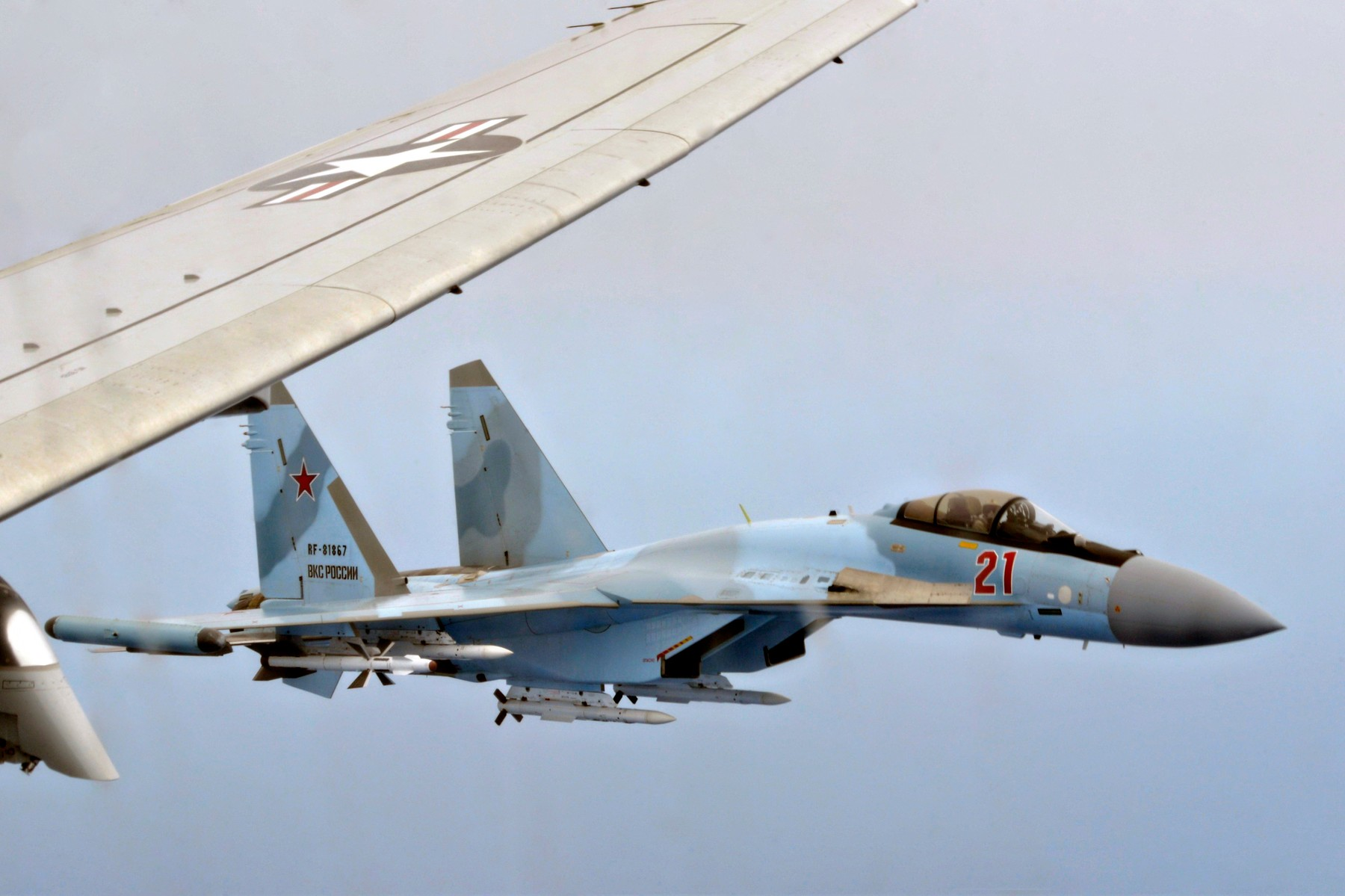 May 26, 2020, Mediterranean Sea, United States: Two Russian Su-35 Flanker-E fighter aircraft shadow at an unsafe distance, a U.S. Navy P-8A Poseidon patrol aircraft assigned to 6th Fleet May 26, 2020 over the Mediterranean Sea. May 26, 2020. The Russian intercept lasted 64 minutes and created an unsafe flight environment., Image: 522948748, License: Rights-managed, Restrictions: , Model Release: no, Credit line: Jonathan Nelson/U.S. Navy / Zuma Press / Profimedia