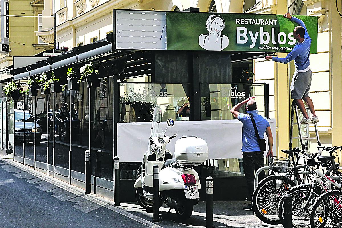 Zagreb, 270520. Teslina ulica. Restoran Byblos. Restorani i kafici nakon koronavirusa. Na fotografiji: restoran Byblos. Foto: Zeljko Puhovski / CROPIX