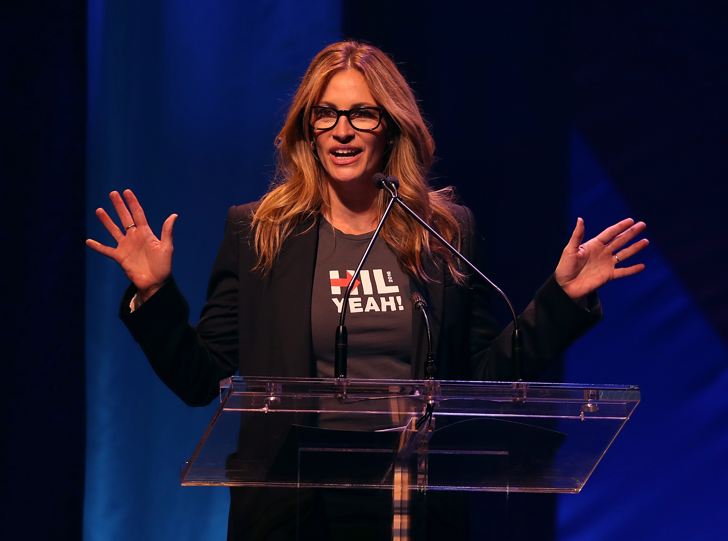 NEW YORK, NY - OCTOBER 17:  Actress Julia Roberts speaks during the Hillary Victory Fund - Stronger Together concert at St. James Theatre on October 17, 2016 in New York City. Broadway stars and celebrities performed during a fundraising concert for the Hillary Clinton campaign.  (Photo by Justin Sullivan/Getty Images)