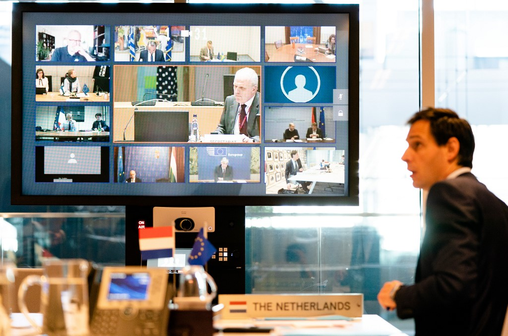 2020-04-07 15:20:26 Dutch�Minister Wopke Hoekstra during a video conference with the EU finance ministers, on what means should be used to absorb the economic blow of the corona crisis, In The Hague, The Netherlands, 07 April 2020. ANP BART MAAT
