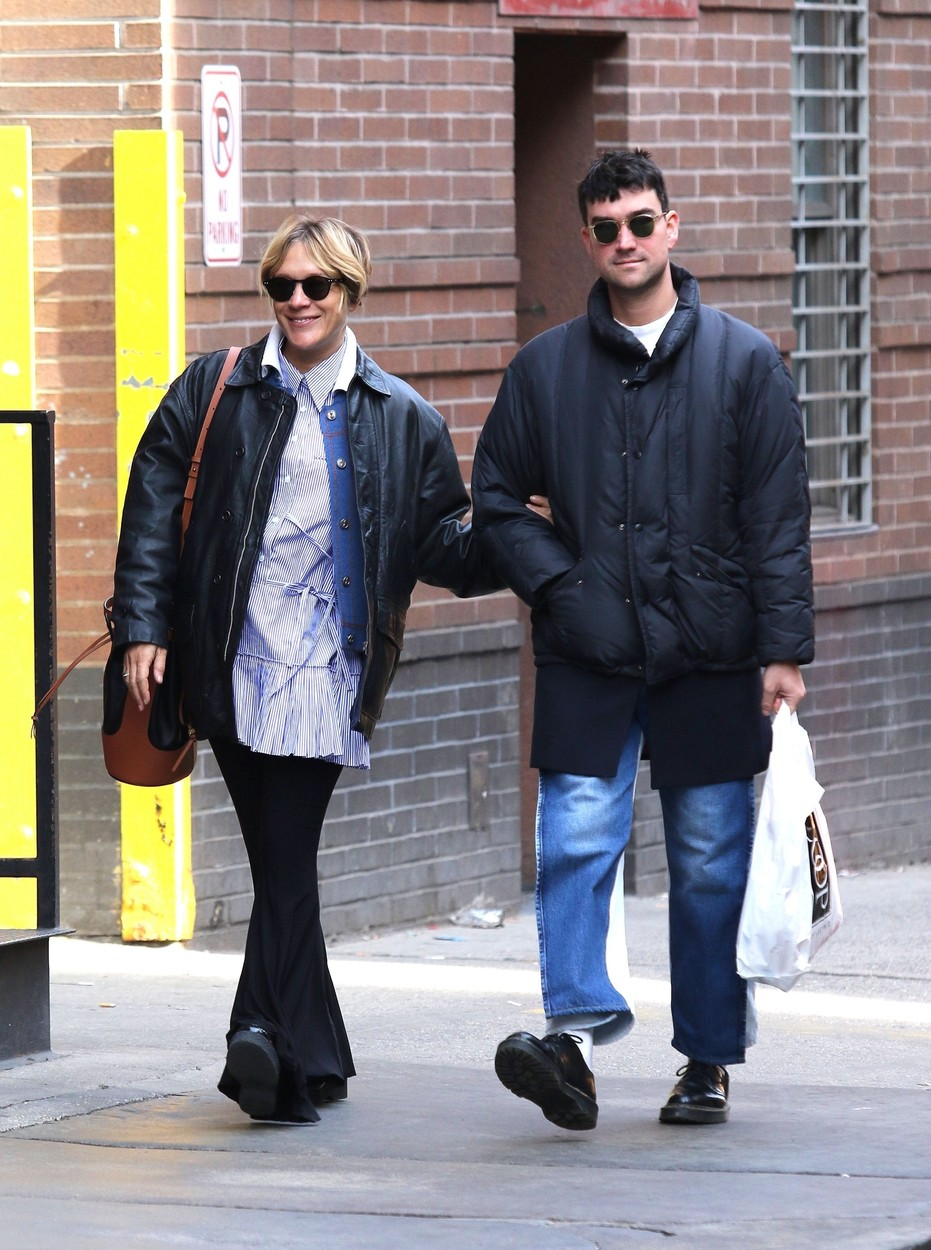 New York City, NY  - Chloe Sevigny and boyfriend Sinisa Mackovic are all smiles while shopping for baby clothes in Manhattan's Soho area.  The pregnant star looked to be in a great mood as she was smiling while shopping at