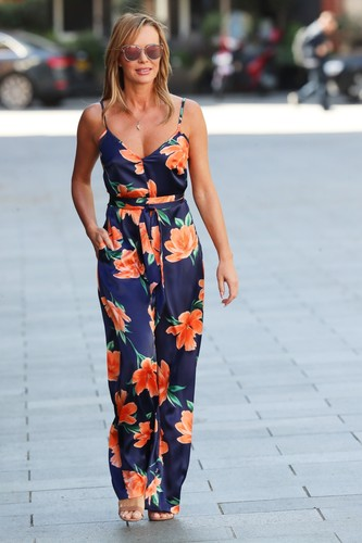 London, UNITED KINGDOM  - Media personality Amanda Holden seen leaving the Global studios the Heart Radio Breakfast show wearing floral print jumpsuit in London.  *UK Clients - Pictures Containing Children Please Pixelate Face Prior To Publication*, Image: 514340368, License: Rights-managed, Restrictions: , Model Release: no, Credit line: BACKGRID / Backgrid UK / Profimedia