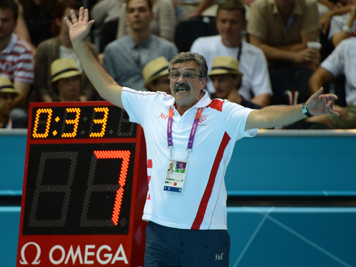 Croatia's Ratko Rudic reacts during the men's water polo gold medal match Croatia vs Italy at the London 2012 Olympic Games in London on August 12, 2012.         AFP PHOTO / KHALED DESOUKI (Photo by KHALED DESOUKI / AFP)