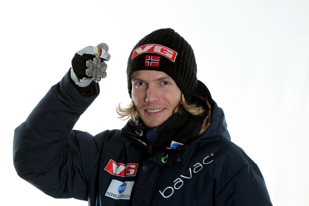 OSLO, NORWAY - FEBRUARY 27:  Bjoern Einar Romoeren of Norway poses with the the silver medal won in the Men's Ski Jumping Team HS106  competition during the FIS Nordic World Ski Championships at Holmenkollen on February 27, 2011 in Oslo, Norway.  (Photo by Hemmersbach/NordicFocus/Getty Images)