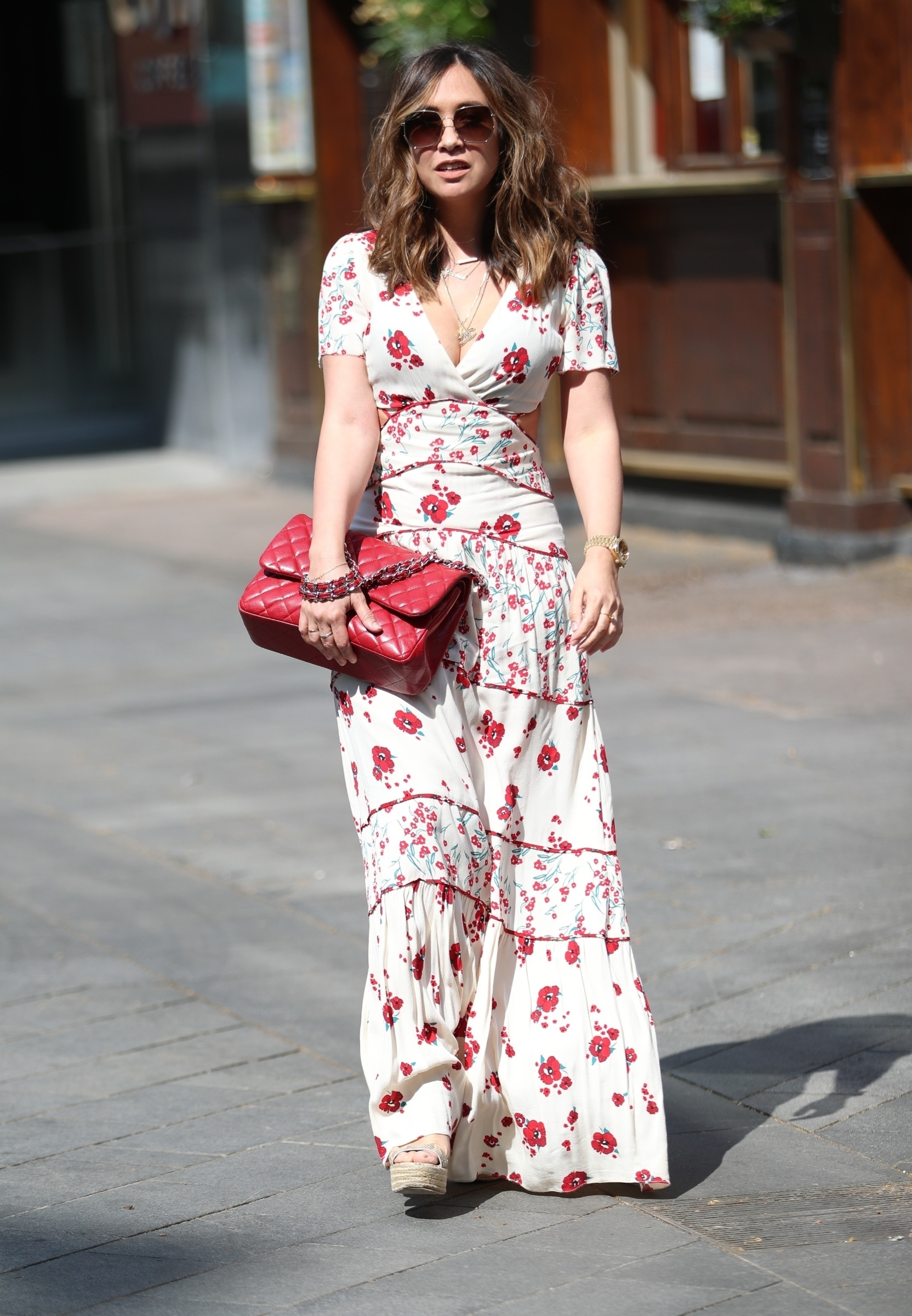 London, UNITED KINGDOM  - Singer Myleene Klass looks super chic while leaving the Smooth Radio Studios in London wearing a busty floral dress.  *UK Clients - Pictures Containing Children Please Pixelate Face Prior To Publication*, Image: 514981975, License: Rights-managed, Restrictions: , Model Release: no, Credit line: BACKGRID / Backgrid UK / Profimedia