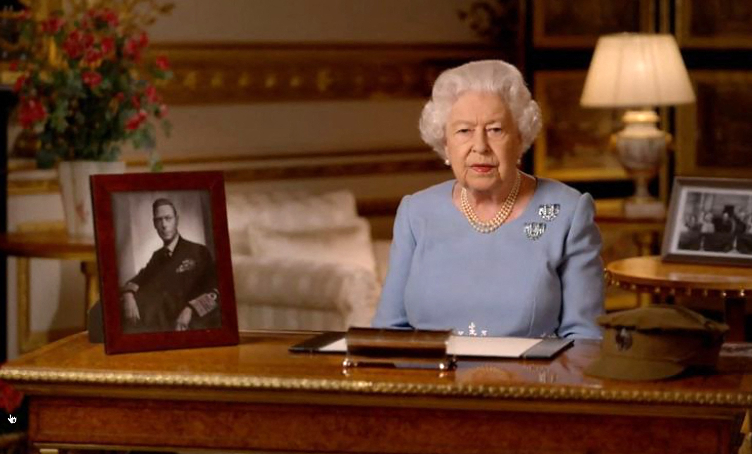 Screen capture of Britain's Queen Elizabeth II addresses the nation and the Commonwealth on the 75th anniversary of VE Day, from Windsor Castle in Windsor, on May 8, 2020, England. Photo via David NIVIERE/ ABACAPRESS.COM,Image: 518130742, License: Rights-managed, Restrictions: , Model Release: no