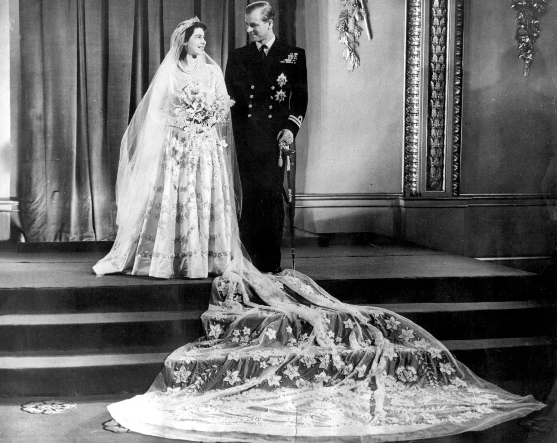 Nov 20, 1947 - London, UK - The elder daughter of King George VI and Queen Elizabeth, ELIZABETH WINDSOR (named Elizabeth II) PRINCE PHILIP, Duke of Edinburgh (born Prince Philip of Greece and Denmark) married on 20 November 1947. The wedding was seen as the first glimmer of hope in a post-war Commonwealth, and, though the royal couple received over 2,500 wedding gifts from around the world, rationing required that the Princess save up her ration coupons to buy the material for her wedding dress.,Image: 210143273, License: Rights-managed, Restrictions: , Model Release: no, Credit line: KEYSTONE Pictures USA / Zuma Press / Profimedia