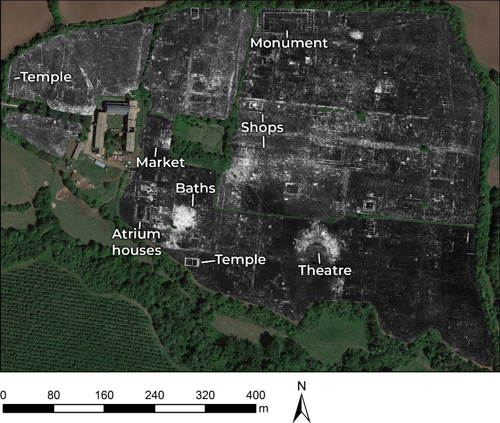 This undated handout photo released on June 4, 2020 by the University of Cambridge shows a slice of Ground Penetrating Radar (GPR) data from the Roman city of Falerii Novi, near Rome, Italy, revealing the outlines of the town's buildings. - Scientists have unveiled for the first time the contours of an ancient city north of Rome, and all they needed was a quad bike and a radar gun. The splendour of long-buried Falerii Novi in the Tiber River valley, in other words, was revealed without overturning a single stone. Instead, researchers from the University of Cambridge and the University of Ghent in Belgium used ground penetrating radars and satellite navigation to create sophisticated 3-D images of the once-lost town. (Photo by Handout and L. Verdonck / University of Cambridge / AFP) / RESTRICTED TO EDITORIAL USE - MANDATORY CREDIT