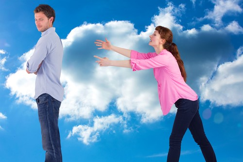Woman trying to hug man against cloudy sky,Image: 216095988, License: Royalty-free, Restrictions: , Model Release: yes, Credit line: - / Wavebreak / Profimedia