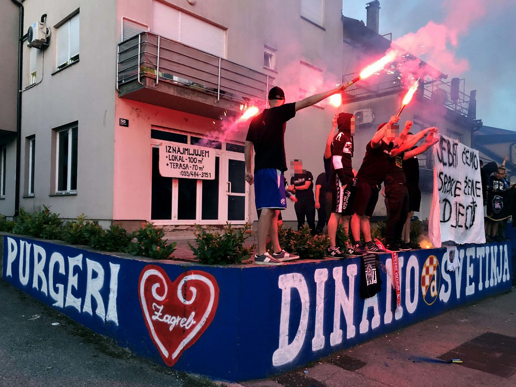 EDITORS NOTE: Graphic content / Picutre taken on June 11, 2020, in Zagreb, Croatia, shows an offensive anti-Serb banner displayed by Croatian football fans sparked outrage in the country on June 12, 2020, notably among ethnic Serbs and was strongly condemned by top officials. - The photo of about a dozen Dinamo Zagreb fans standing on an improvised stage and displaying a giant banner that read