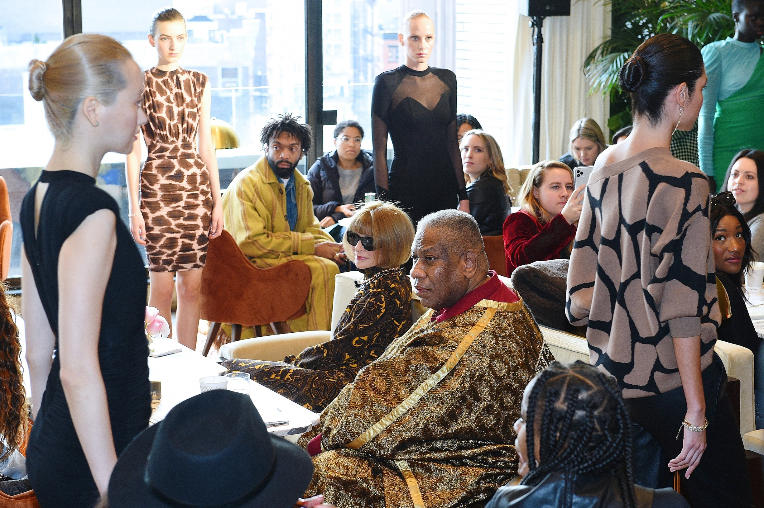 NEW YORK, NEW YORK - FEBRUARY 12: Anna Wintour and André Leon Talley attend S by Serena Spring 2020 Collection Reveal with Serena Williams and Anna Wintour during NYFW: The Shows at Spring Studios on February 12, 2020 in New York City. (Photo by Bryan Bedder/Getty Images for IMG)
