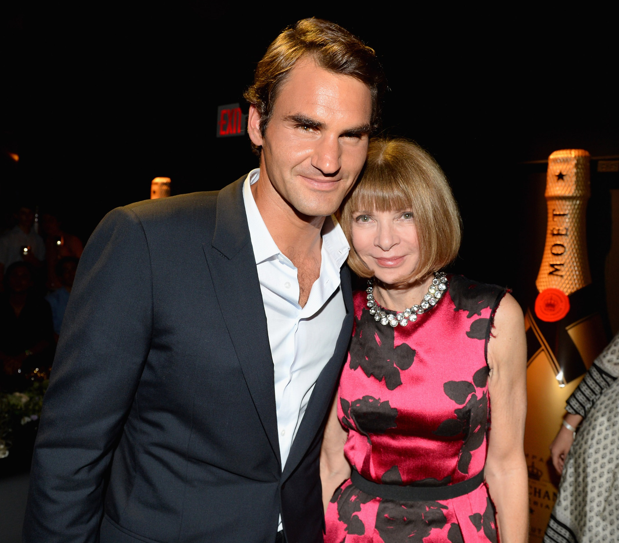 NEW YORK, NY - AUGUST 20:  Professional Tennis Player Roger Federer (L) and Vogue Editor-in-Chief Anna Wintour attend Moet & Chandon Celebrates Its 270th Anniversary With New Global Brand Ambassador, International Tennis Champion, Roger Federer at Chelsea Piers Sports Center on August 20, 2013 in New York City.  (Photo by Andrew H. Walker/Getty Images for Moet & Chandon)