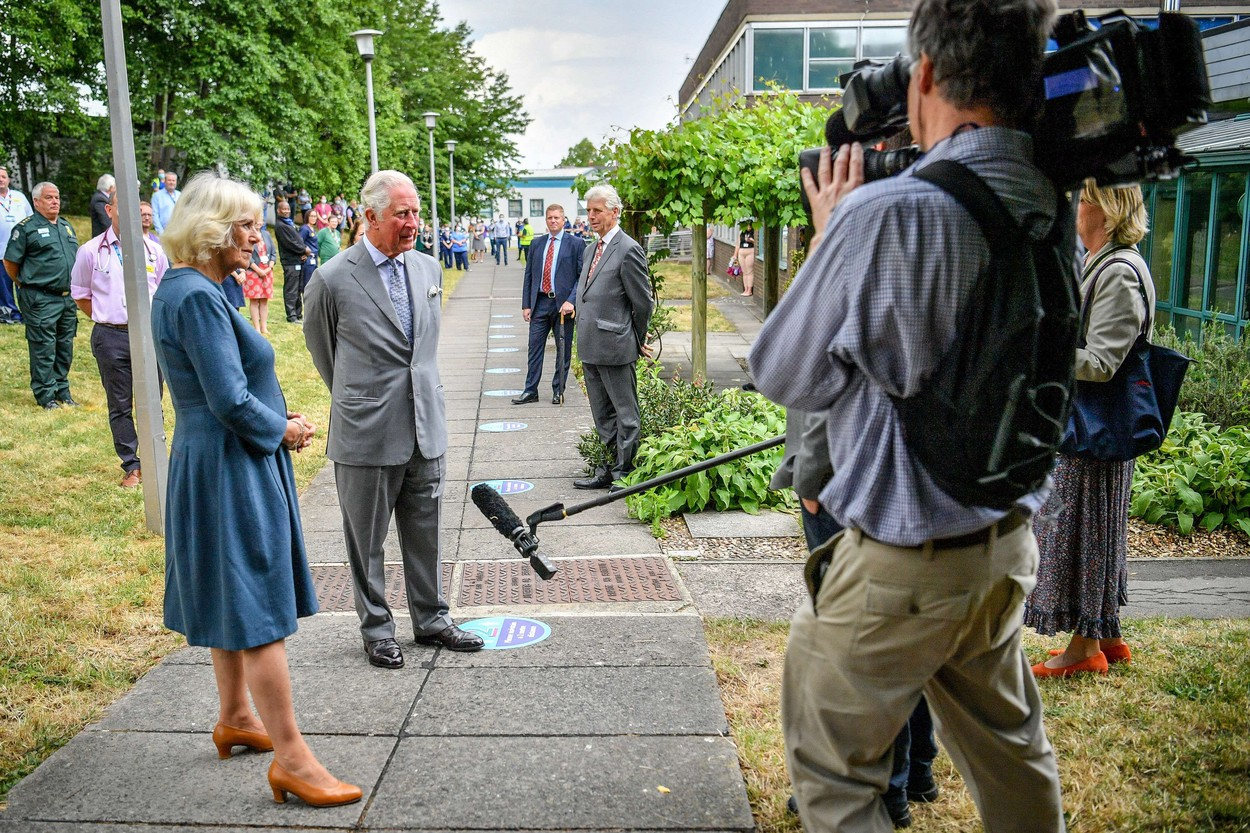 The Prince of Wales and the Duchess of Cornwall conduct a socially distanced TV interview after meeting front line key workers who who have responded to the COVID-19 pandemic during a visit to Gloucestershire Royal Hospital.,Image: 532223466, License: Rights-managed, Restrictions: NO UK USE  FOR SEVEN DAYS - Fee Payable Upon Reproduction - For queries contact Avalon.red - sales@avalon.red London: +44 (0) 20 7421 6000 Los Angeles: +1 (310) 822 0419 Berlin: +49 (0) 30 76 212 251, Model Release: no, Credit line: Avalon.red / Avalon Editorial / Profimedia