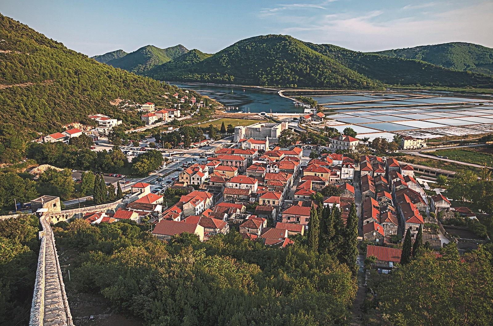 Ston - old town in Croatia, Peljesac. Golden hour.