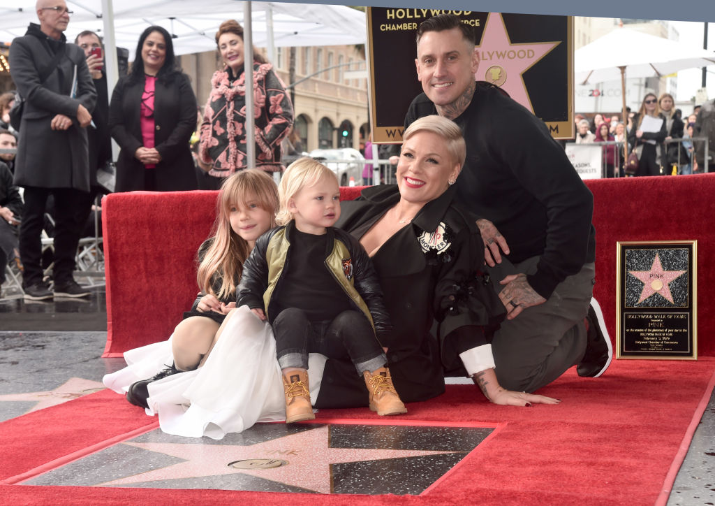 HOLLYWOOD, CALIFORNIA - FEBRUARY 05: Pink poses with husband Carey Hart and children Willow Hart and Jameson Hart at a ceremony honoring her with the 2,656th star on The  Hollywood Walk of Fame on February 05, 2019 in Hollywood, California. (Photo by Alberto E. Rodriguez/Getty Images)