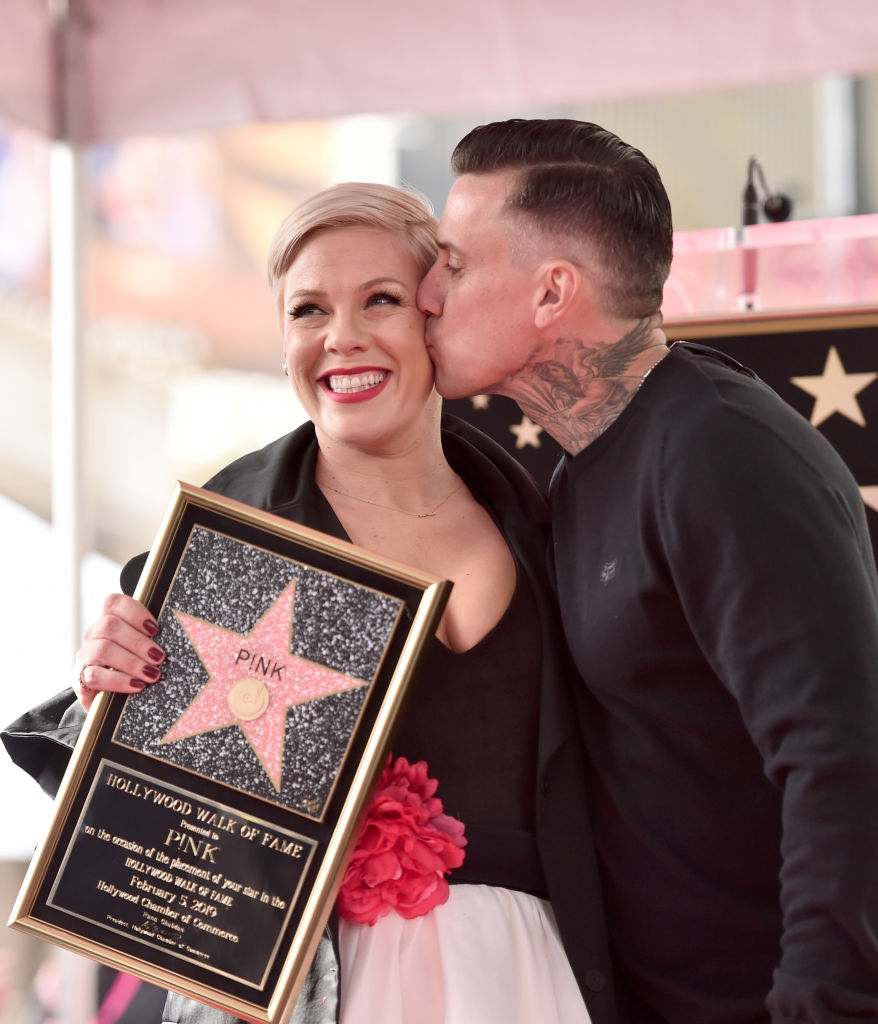HOLLYWOOD, CALIFORNIA - FEBRUARY 05: Pink and Carey Hart attend a ceremony honoring her with the 2.656th star on The Hollywood Walk Of Fame on February 05, 2019 in Hollywood, California. (Photo by Alberto E. Rodriguez/Getty Images)