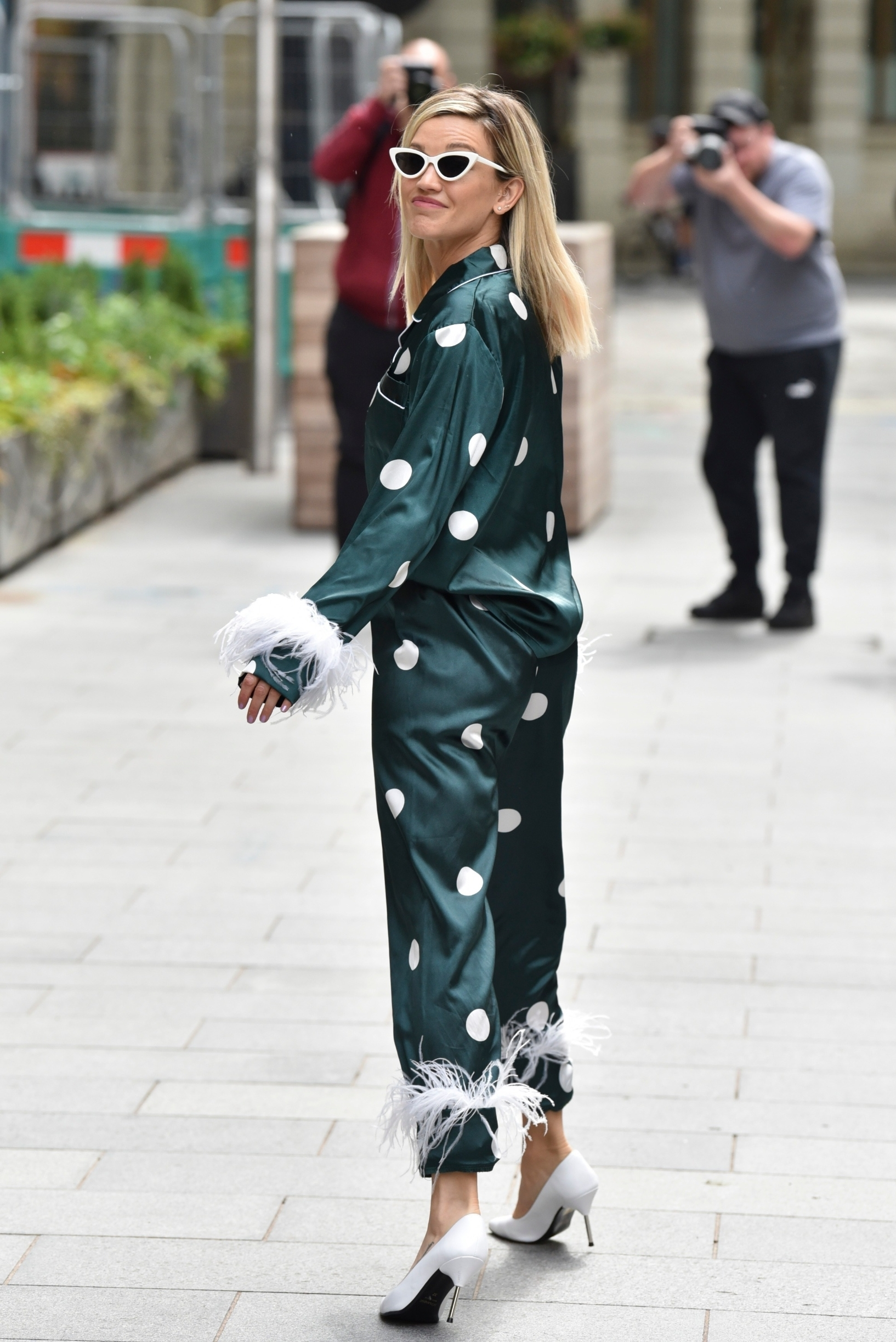 London, UNITED KINGDOM  - Singer Ashley Roberts seen looking trendy in a forest green pyjama suit while leaving Heart during the Global's Make Some Noise Emergency Appeal Day.  BACKGRID UK 19 JUNE 2020,Image: 533464432, License: Rights-managed, Restrictions: , Model Release: no, Credit line: RUSHEN / BACKGRID / Backgrid UK / Profimedia