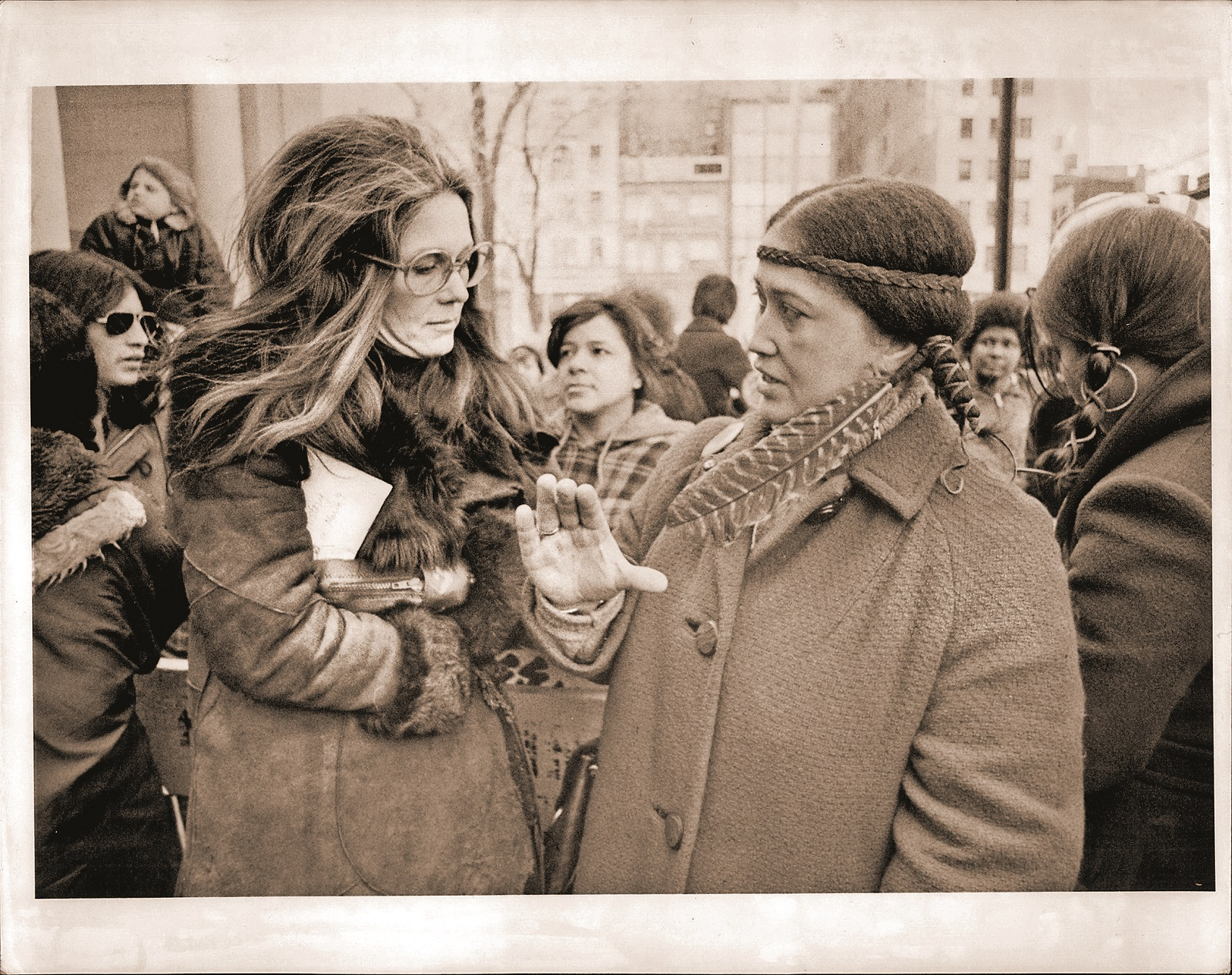 Mar. 03, 1975 - International Womens Day - New York City. Gloria Steinem and Paulene Haines - representative of the American Indian Movement, member of the Cherokee Nation.,Image: 209893389, License: Rights-managed, Restrictions: , Model Release: no, Credit line: Brian F. Alpert / Zuma Press / Profimedia