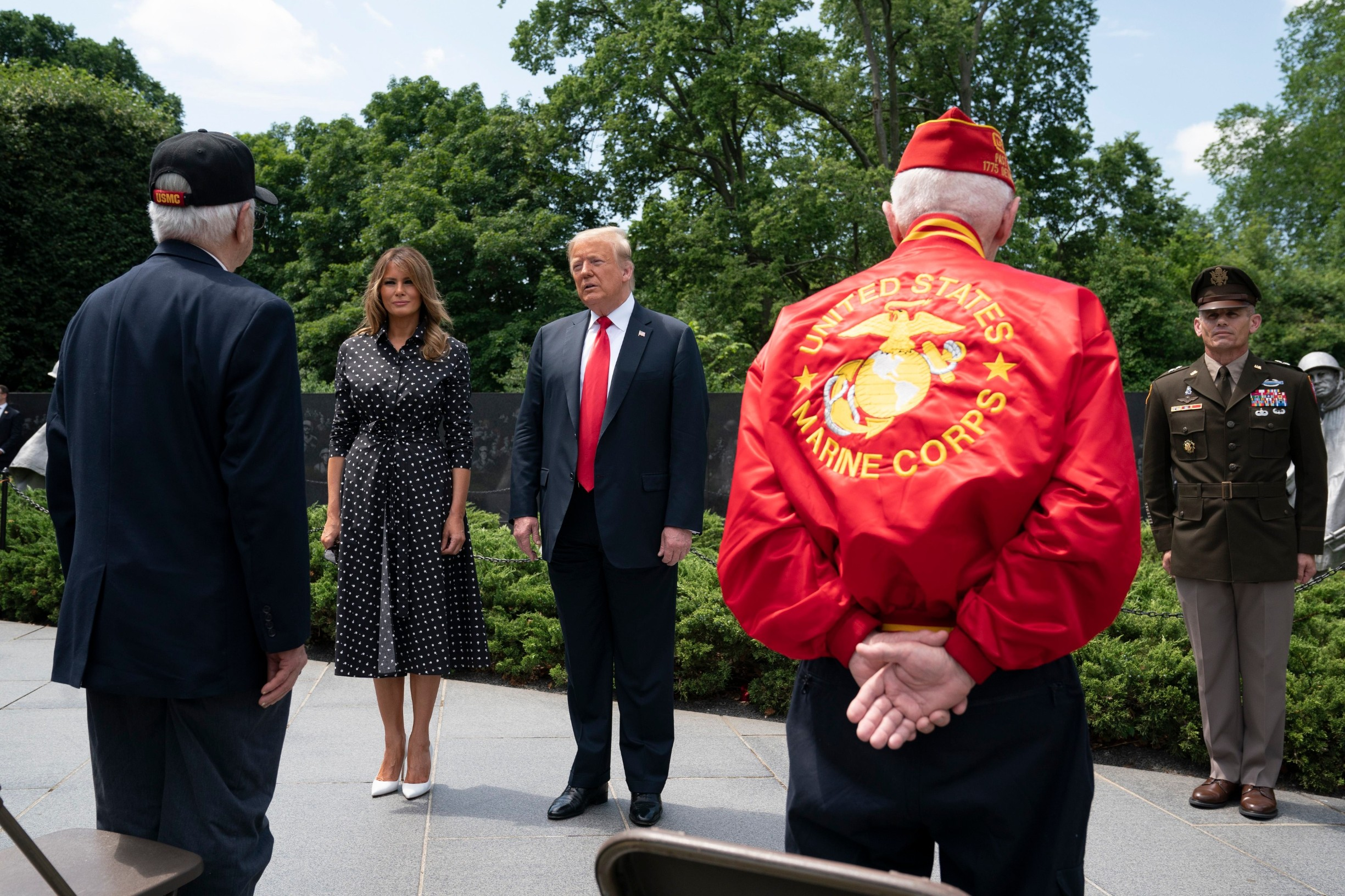 US President Donald J. Trump, alongside First Lady Melania Trump, greets Korean War veterans at the Korean War Veterans Memorial in Washington, DC, USA, 25 June 2020. On 24 June, in the wake of anti-racism protests aimed at monuments around the country, the president activated the National Guard to provide unarmed security for monuments in the nation's capital.,Image: 535827581, License: Rights-managed, Restrictions: WORLD RIGHTS - Fee Payable Upon Reproduction - For queries contact Avalon.red - sales@avalon.red London: +44 (0) 20 7421 6000 Los Angeles: +1 (310) 822 0419 Berlin: +49 (0) 30 76 212 251, Model Release: no, Credit line: Avalon.red / Avalon Editorial / Profimedia
