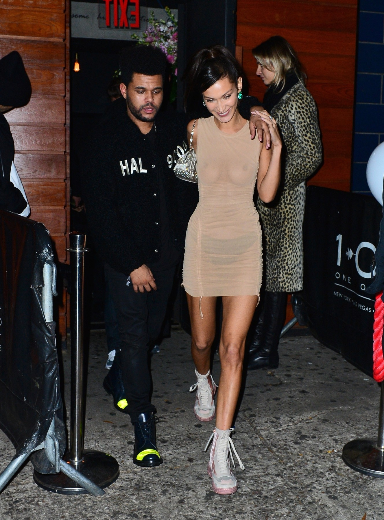 New York, NY  - Bella Hadid holds hands with singer Halsey and beau the Weeknd as she heads to Victoria's Secret after party at Avenue in NYC.  Pictured: Halsey, Bella Hadid, The Weeknd    *UK Clients - Pictures Containing Children Please Pixelate Face Prior To Publication*,Image: 394974138, License: Rights-managed, Restrictions: , Model Release: no