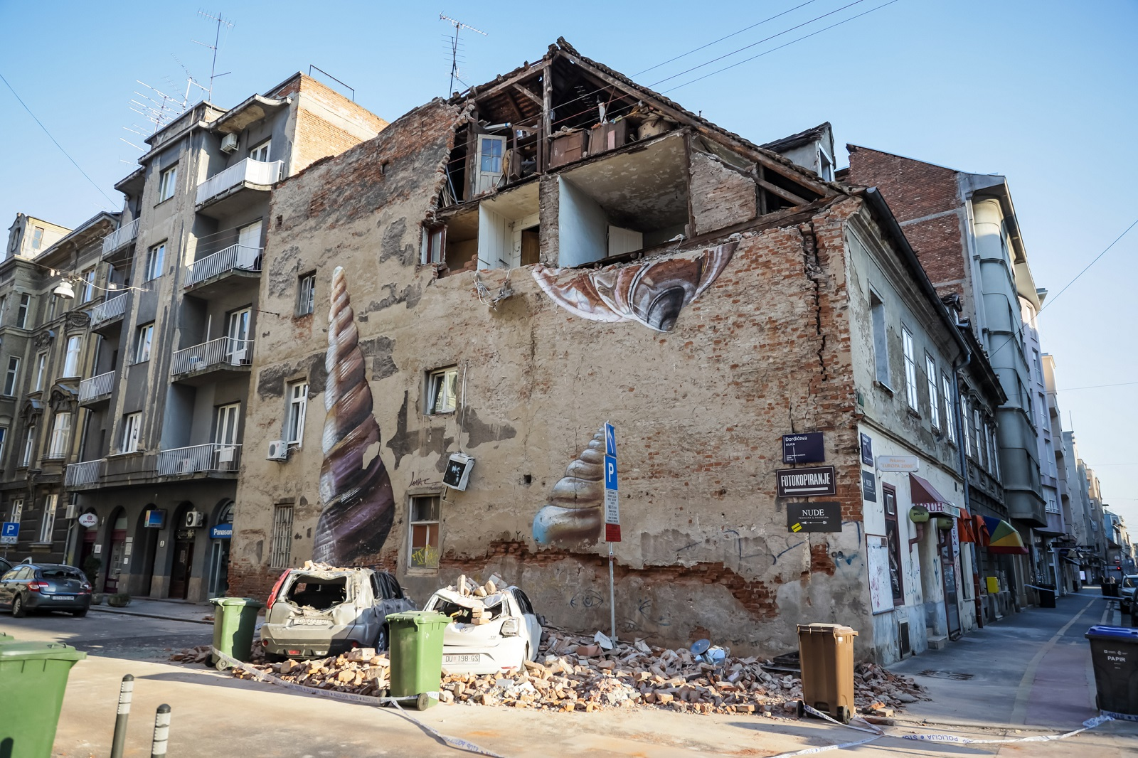 Zagreb, Croatia - March 22, 2020 : In the morning capital of Croatia, Zagreb has been hit by the magnitude of the earthquake 5.5 per Richter. Cars have been destroyed by fallen parts of the building.