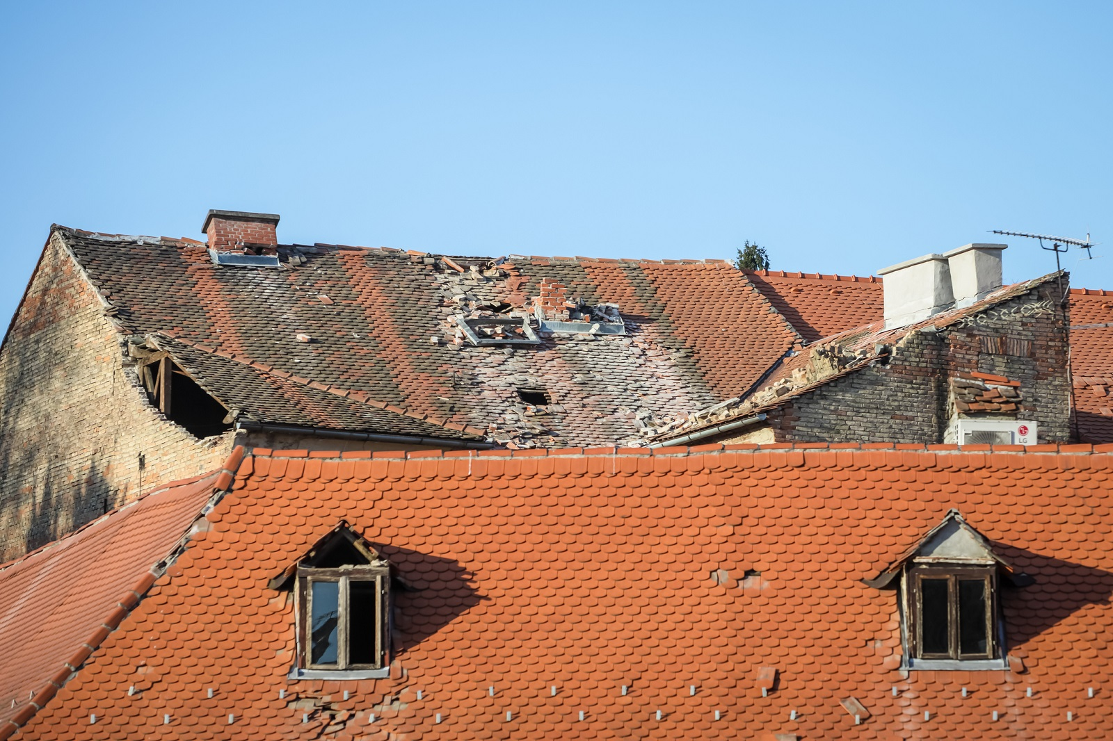 Zagreb, Croatia - March 22, 2020 :Capital of Croatia, Zagreb has been hit by the magnitude of the earthquake 5.5 per Richter. Damaged roofs from earthquake in downtown of Zagreb.