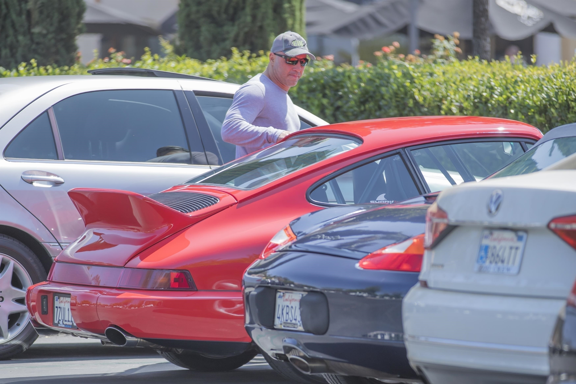 Calabasas, CA  - *EXCLUSIVE*  - Joe Rogan was seen buying yet another gift from Polacheck's presumably for his model wife, who he's been seen with at the store on past occasions. Expensive taste: Joe drove off in a vintage 250K red Porsche.  Pictured: Joe Rogan  BACKGRID USA 27 AUGUST 2018,Image: 384229389, License: Rights-managed, Restrictions: , Model Release: no, Credit line: IXOLA / BACKGRID / Backgrid USA / Profimedia