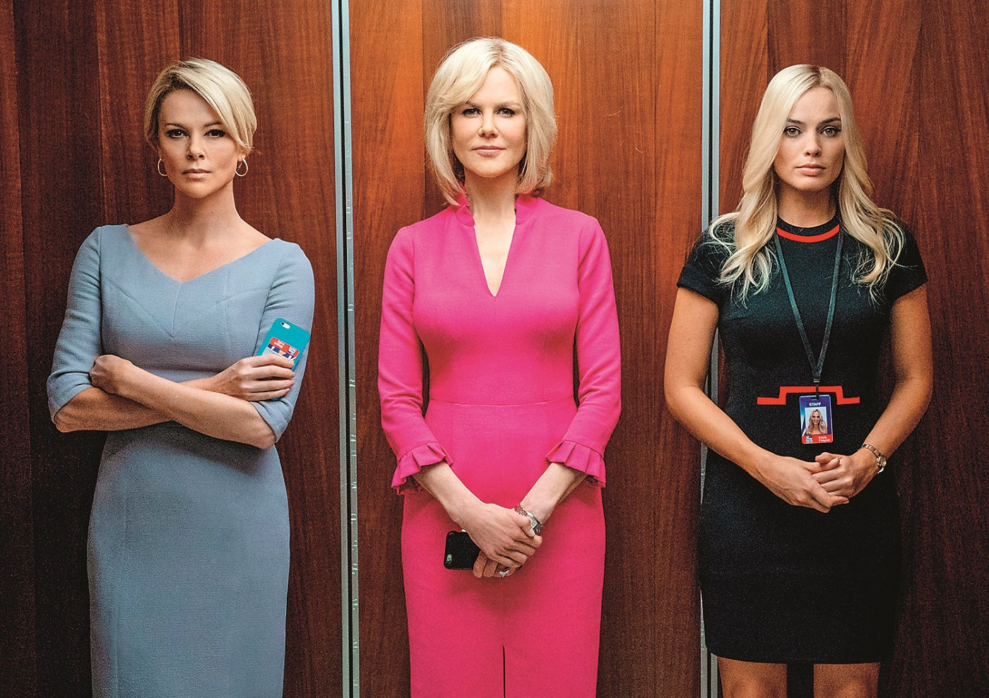 BOMBSHELL, from left: Charlize Theron as Megyn Kelly, Nicole Kidman as Gretchen Carlson, Margot Robbie as Kayla Pospisil, 2019. ph: Hilary Bronwyn Gayle / © Lionsgate / courtesy Everett Collection