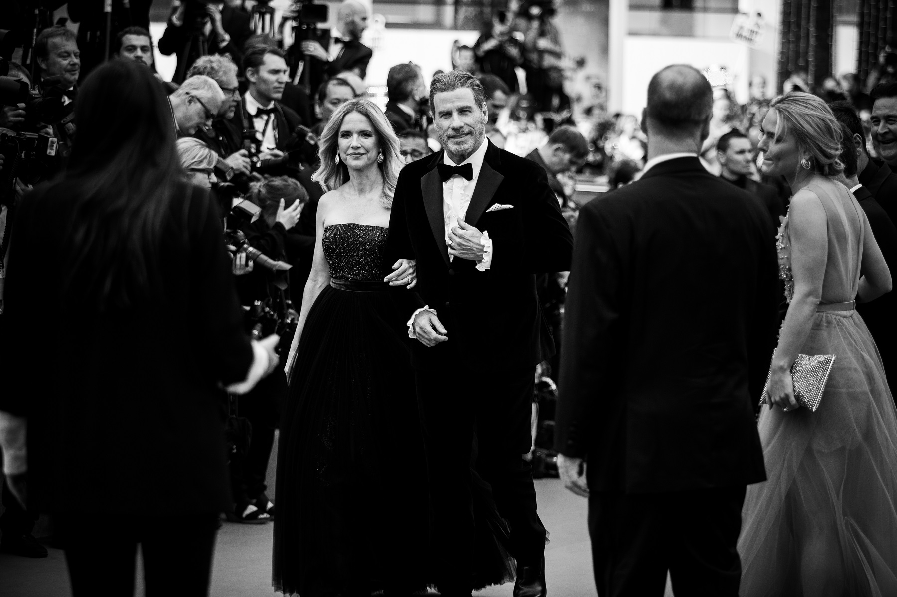 CANNES, FRANCE - MAY 15:  (EDITORS NOTE: Image has been converted to black and white) Kelly Preston and John Travolta attend the screening of