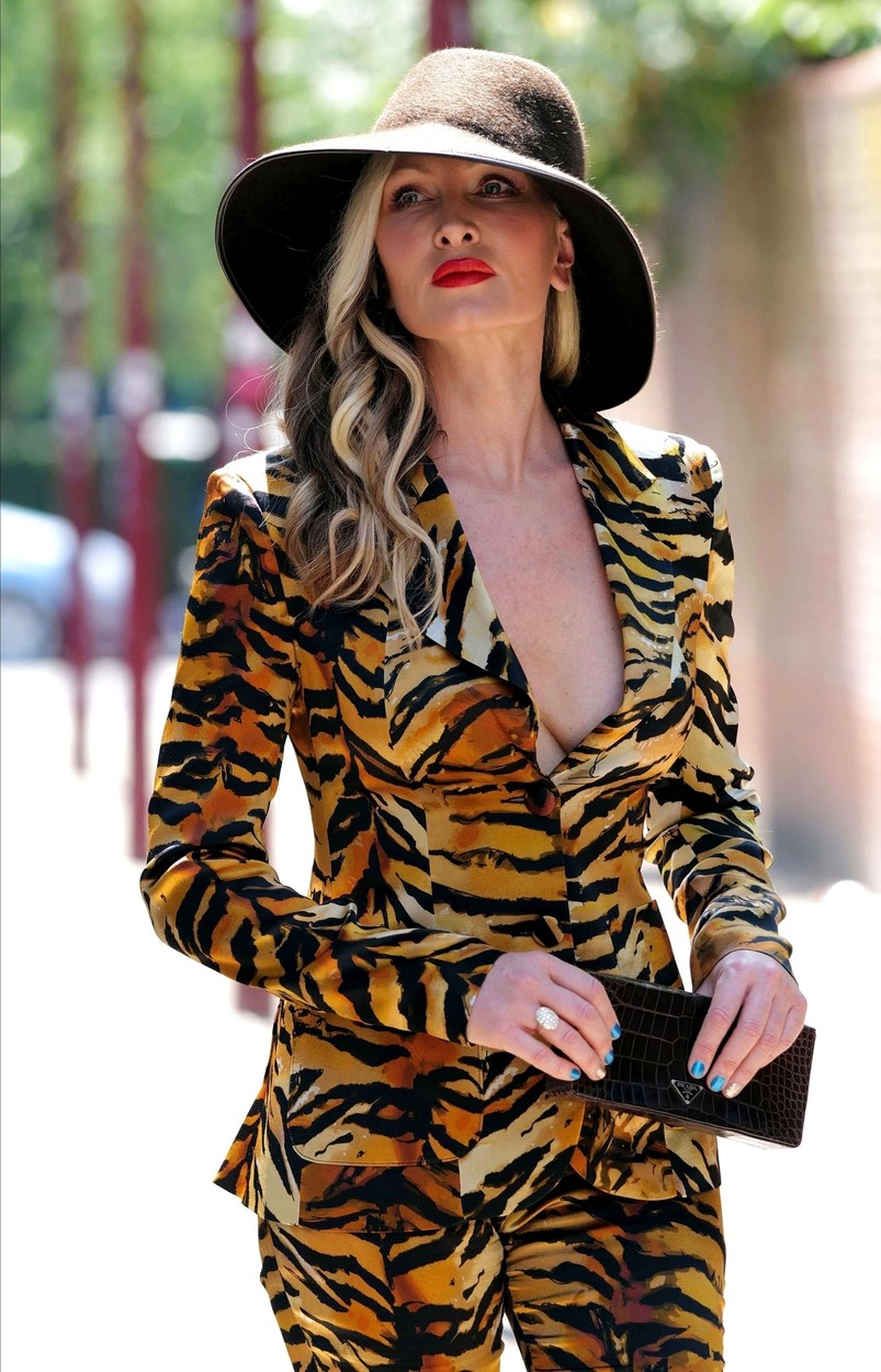 LONDON, UNITED KINGDOM  - *EXCLUSIVE*  - American model Caprice goes braless in a plunging tiger print power suit as she walks to a business meeting in London.  *UK Clients - Pictures Containing Children Please Pixelate Face Prior To Publication*,Image: 540501985, License: Rights-managed, Restrictions: , Model Release: no, Credit line: BACKGRID / Backgrid UK / Profimedia