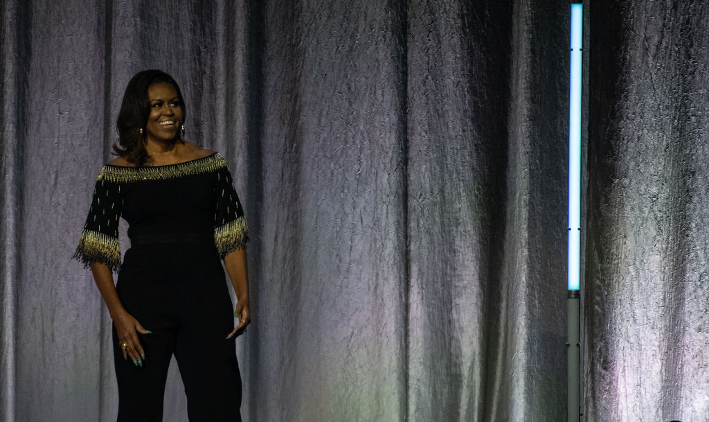 LONDON, ENGLAND - APRIL 14: Michelle Obama on stage as part of her