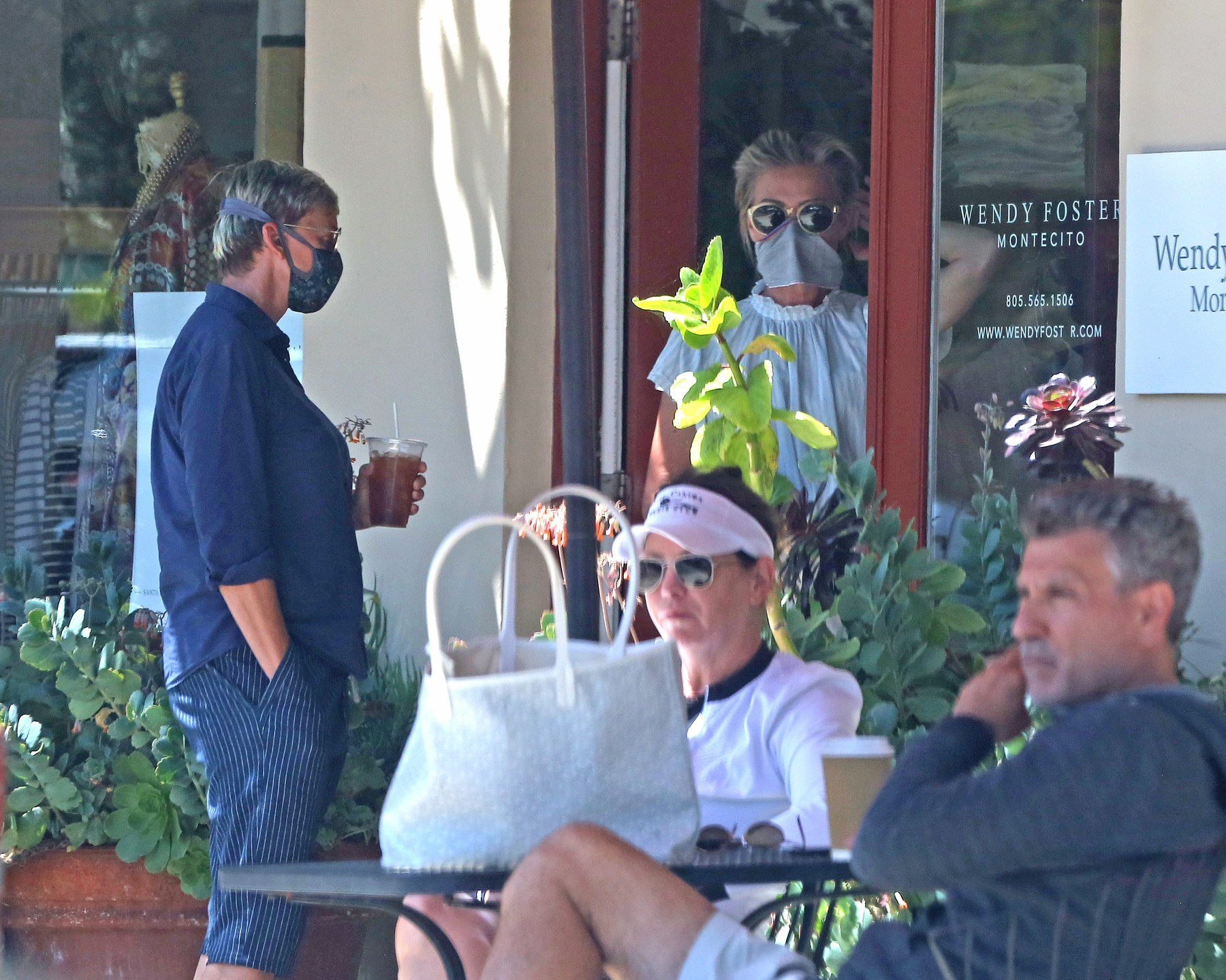 EXCLUSIVE: Ellen DeGeneres and Portia DeRossi who have been staying inside their fancy home in Santa Barbara, take a break from being cooped up what Ellen described as, her