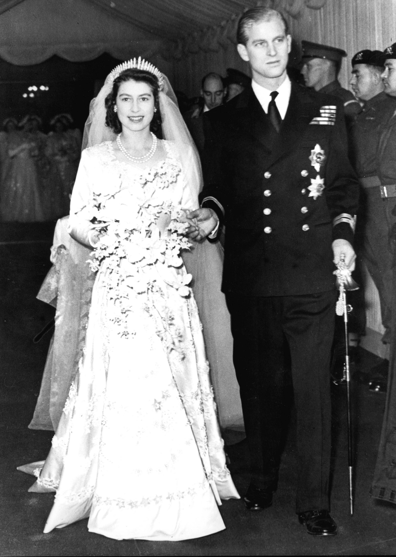 File photo dated 20/11/1947 of Queen Elizabeth II alongside the Duke of Edinburgh as they leave Westminster Abbey after their marriage ceremony. The Queen is wearing the same tiara that was worn by Princess Beatrice at her wedding to Edoardo Mapelli Mozzi on Friday.,Image: 544663423, License: Rights-managed, Restrictions: FILE PHOTO, Model Release: no, Credit line: PA Photos / PA Images / Profimedia