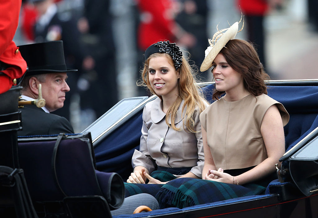 LONDON, ENGLAND - JUNE 13:  (L-R)  Prince Andrew, Duke of York, Princess Beatrice and Princess Eugenie attend the Trooping The Colour ceremony on June 13, 2015 in London, England. The ceremony is Queen Elizabeth II's annual birthday parade and dates back to the time of Charles II in the 17th Century, when the Colours of a regiment were used as a rallying point in battle.  (Photo by Chris Jackson/Getty Images)