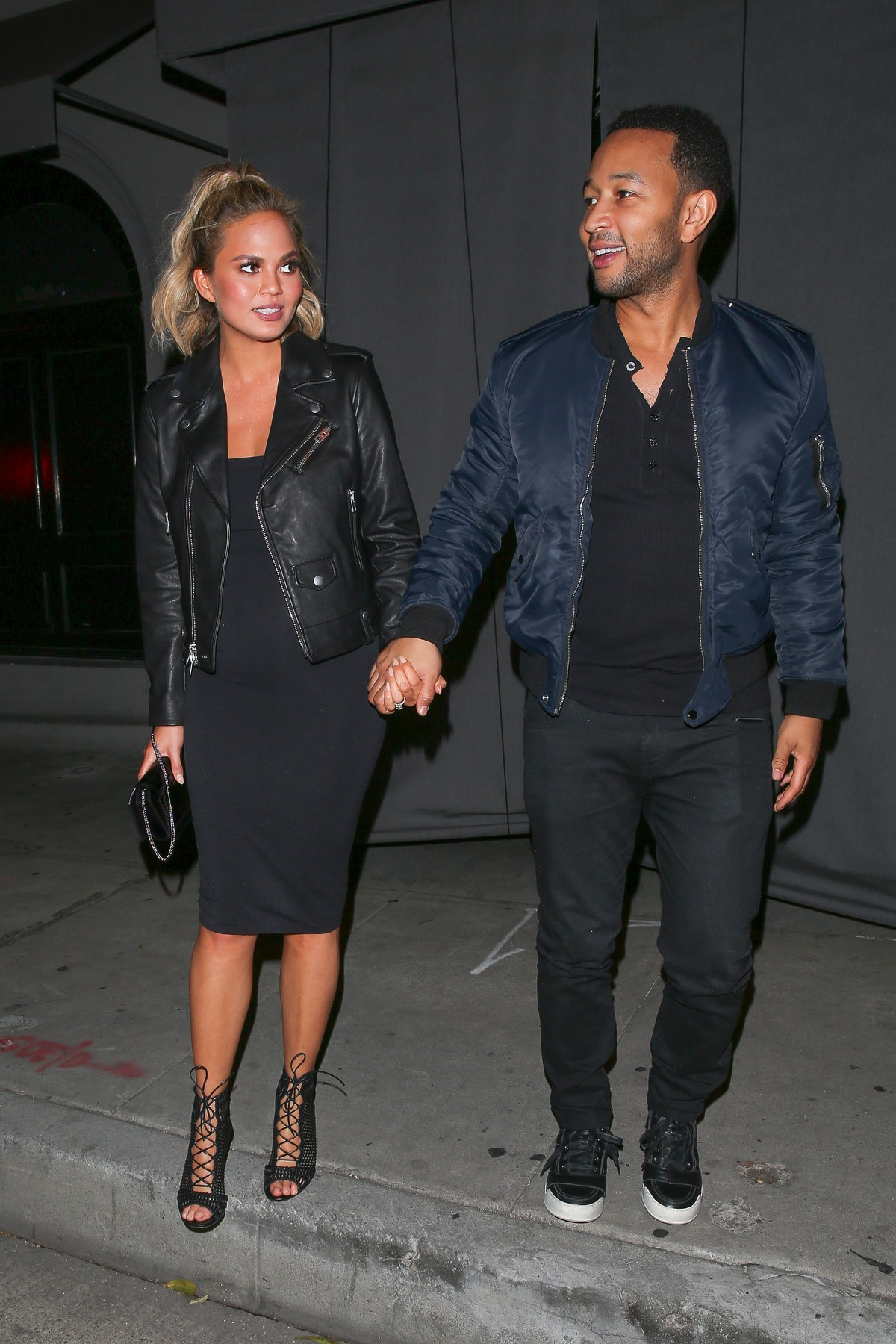 West Hollywood, CA - Grammy winner singer John Legend and his pretty pregnant wife Chrissy Teigen hold hands as they wrap up dinner at Craig's Restaurant.        December 15, 2015,Image: 269292770, License: Rights-managed, Restrictions: NO Brazil,NO Brazil, Model Release: no, Credit line: AKM Images / Backgrid USA / Profimedia