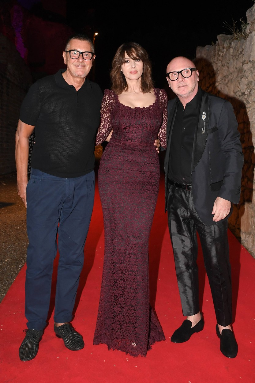 Stefano Gabbana, Monica Bellucci and Domenico Dolce during the closing night of the Taormina Film Festival on July 18, 2020 in Taormina, Italy.,Image: 545192452, License: Rights-managed, Restrictions: Italy Out, Model Release: no, Credit line: IPA/ABACA / Abaca Press / Profimedia
