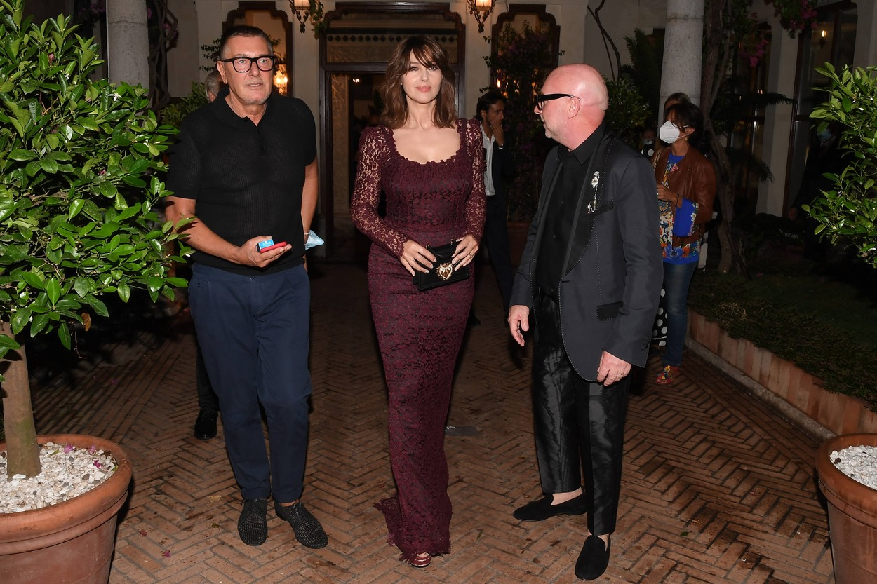 Stefano Gabbana, Monica Bellucci and Domenico Dolce during the closing night of the Taormina Film Festival on July 18, 2020 in Taormina, Italy.,Image: 545192361, License: Rights-managed, Restrictions: Italy Out, Model Release: no, Credit line: IPA/ABACA / Abaca Press / Profimedia