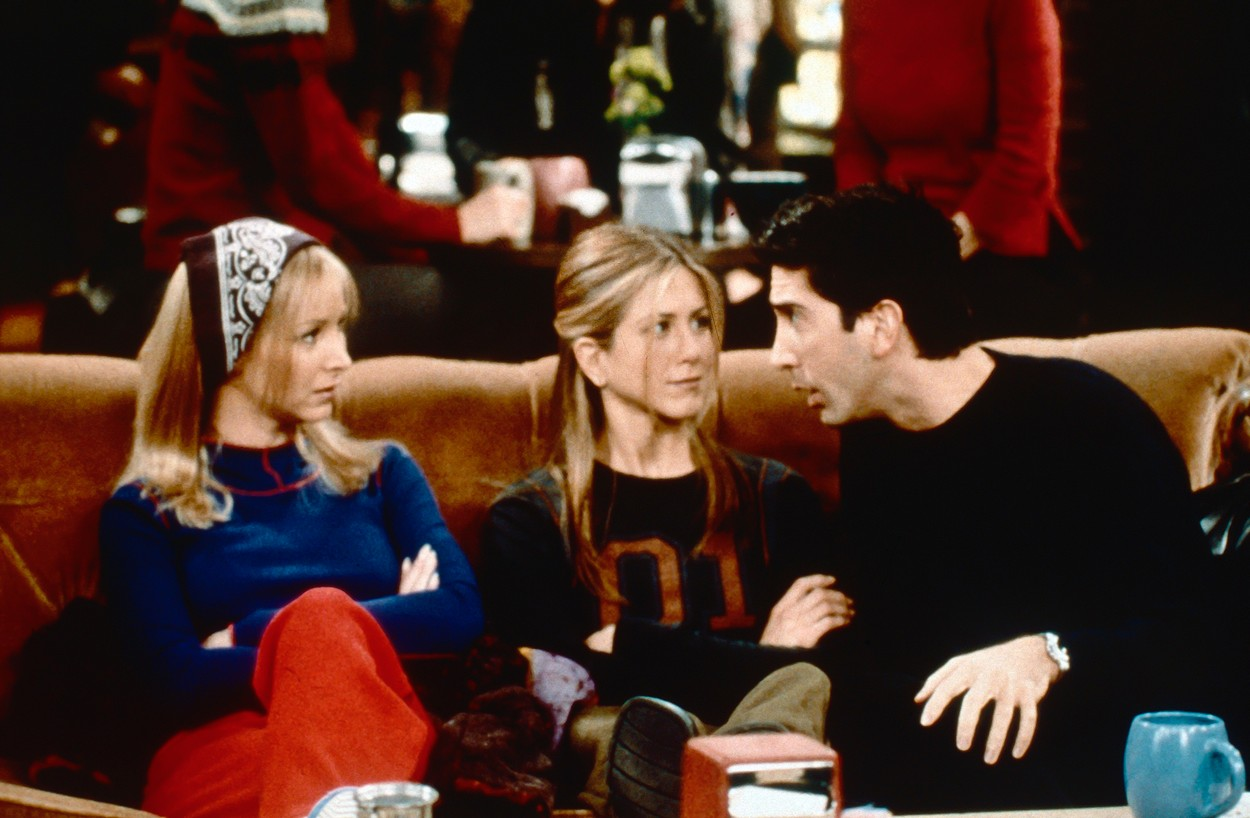 LIBRARY.  USA.  David Schwimmer , Jennifer Aniston and Lisa Kudrow  in the ©Warner Bros. TV series : 'Friends' ( 1994-2004 ),Image: 448706349, License: Rights-managed, Restrictions: Supplied by Landmark Media. Editorial Only. Landmark Media is not the copyright owner of these Film or TV stills but provides a service only for recognised Media outlets., Model Release: no, Credit line: Supplied by LMK / Landmark / Profimedia
