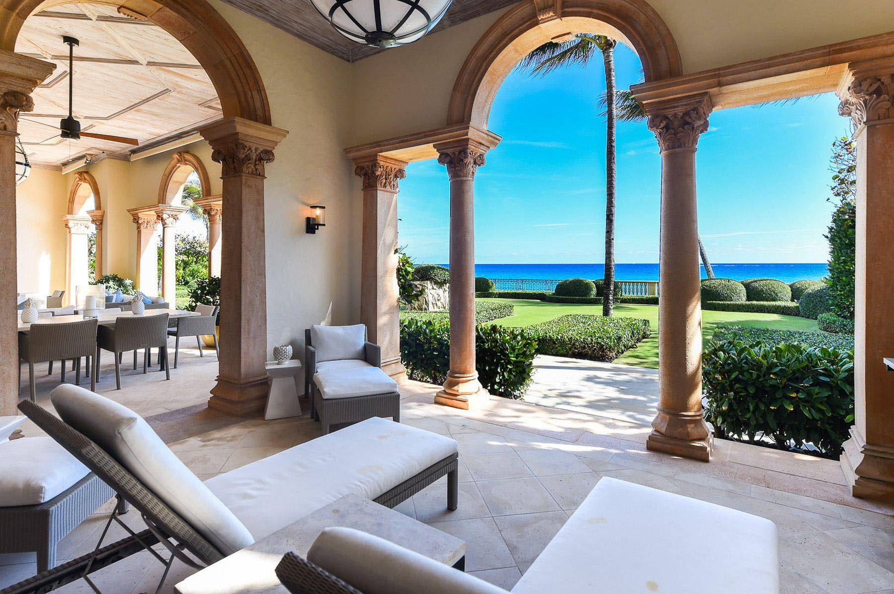 Jon Bon Jovi has splashed out a staggering  million on an oceanfront mansion in Palm Beach, Florida.  The rock superstar sold his smaller home down the road for around  million at the same time.  It's about a mile from the home of radio shock jock Howard Stern - one of Bon Jovi's good friends.  The oceanfront estate has seven bedrooms and seven bathrooms.  Inside, there's also a beautiful formal dining room, an office, a top-of-the-range kitchen, an exercise room, an elevator and a temperature-controlled wine cellar. It has ocean views throughout.   Outside, there are two oceanfront loggias, courtyard pool and cabana.,Image: 545980640, License: Rights-managed, Restrictions: , Model Release: no, Credit line: IMP Features / IMP Features / Profimedia