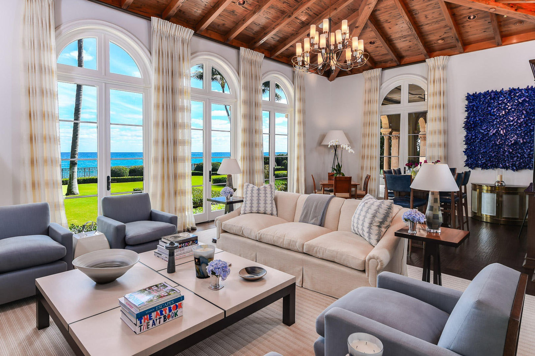 Jon Bon Jovi has splashed out a staggering  million on an oceanfront mansion in Palm Beach, Florida.  The rock superstar sold his smaller home down the road for around  million at the same time.  It's about a mile from the home of radio shock jock Howard Stern - one of Bon Jovi's good friends.  The oceanfront estate has seven bedrooms and seven bathrooms.  Inside, there's also a beautiful formal dining room, an office, a top-of-the-range kitchen, an exercise room, an elevator and a temperature-controlled wine cellar. It has ocean views throughout.   Outside, there are two oceanfront loggias, courtyard pool and cabana.,Image: 545980652, License: Rights-managed, Restrictions: , Model Release: no, Credit line: IMP Features / IMP Features / Profimedia