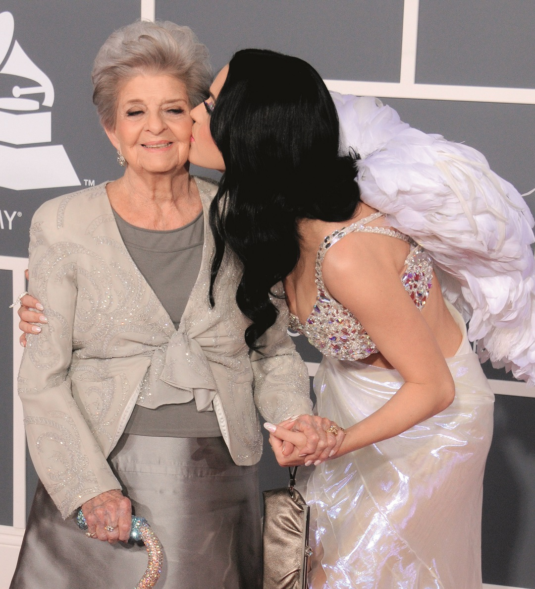 LOS ANGELES, CA - FEBRUARY 13: Katy Perry and grandmother Ann Hudson arrive for the 53rd Annual GRAMMY Awards at the Staples Center, February 13, 2011 in Los Angeles, California. (Photo by Gregg DeGuire/FilmMagic)