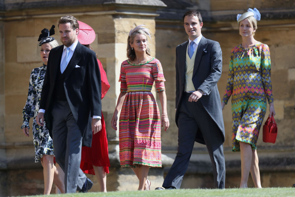 WINDSOR, ENGLAND - MAY 19: Cressida Bonas (C) arrives at the wedding of Prince Harry to Ms Meghan Markle at St George's Chapel, Windsor Castle on May 19, 2018 in Windsor, England. Prince Henry Charles Albert David of Wales marries Ms. Meghan Markle in a service at St George's Chapel inside the grounds of Windsor Castle. Among the guests were 2200 members of the public, the royal family and Ms. Markle's Mother Doria Ragland.  (Photo by Chris Jackson/Getty Images)
