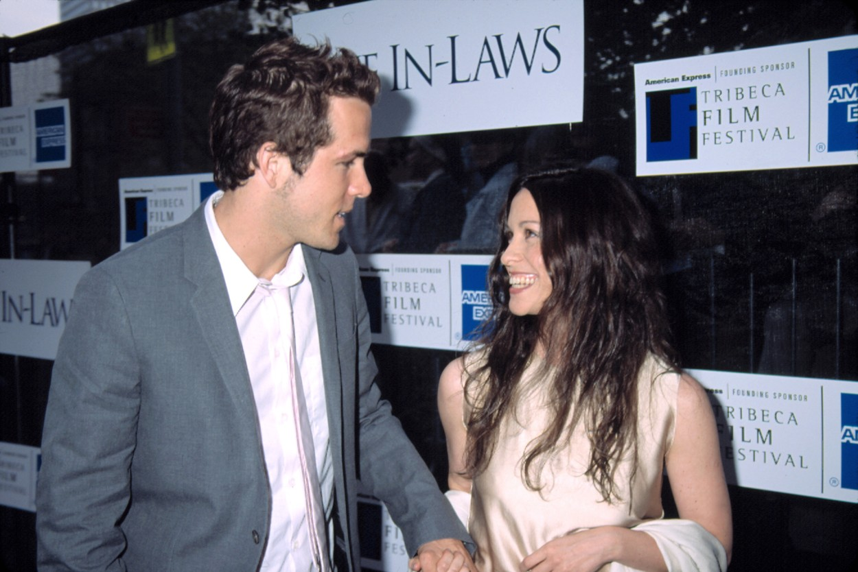 Ryan Reynolds and Alanis Morrisette at Tribeca Film Festival premiere of THE IN-LAWS, NY 5/10/2003, by CJ Contino,Image: 98309853, License: Rights-managed, Restrictions: For usage credit please use; CJ Contino/Everett Collection, Model Release: no, Credit line: CJ Contino Collection / Everett / Profimedia