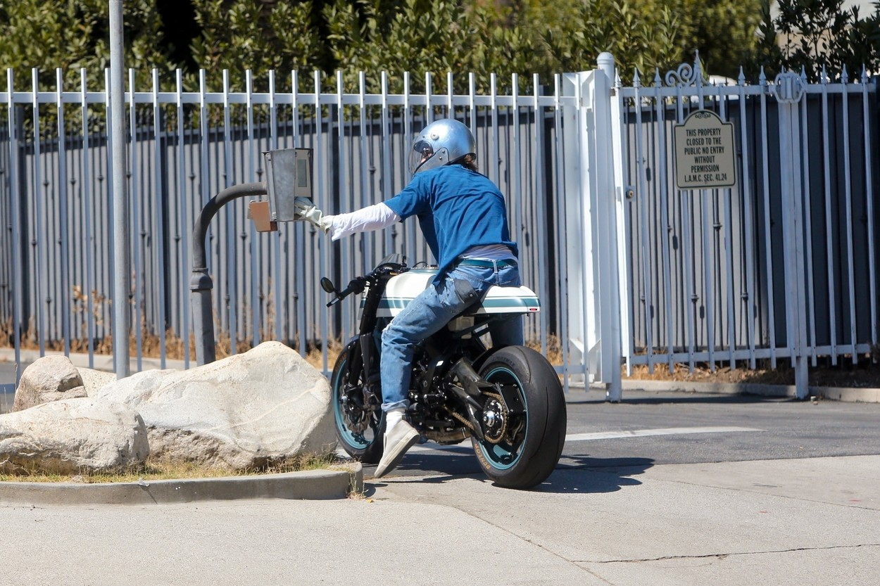 Los Feliz, CA  - Brad Pitt is spotted entering and exiting Angelina Jolie's private community this afternoon on one of his many motorcycles. Brad presumably was stopping by to visit the kids as it has been reported the two have been getting along a lot better lately.  *UK Clients - Pictures Containing Children Please Pixelate Face Prior To Publication*,Image: 547938503, License: Rights-managed, Restrictions: , Model Release: no, Credit line: SL, Terma / BACKGRID / Backgrid USA / Profimedia