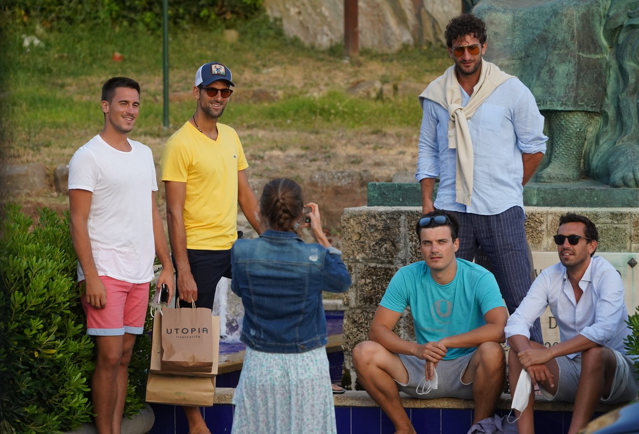 EXCLUSIVE IMAGES - Tennis player Novak Djokovic and his wife Jelena Djokovic together with friends seen out and about on July 29th 2020 in Cadiz, Spain.,Image: 548313582, License: Rights-managed, Restrictions: , Model Release: no, Credit line: IMP Features / IMP Features / Profimedia