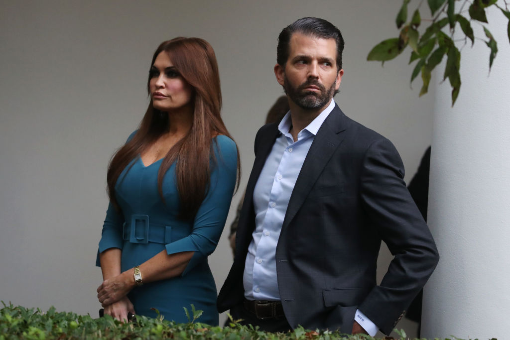 WASHINGTON, DC - JULY 11: Donald Trump Jr. and Kimberly Guilfoyle arrive to a press conference on the census by President Trump in the Rose Garden of the White House on July 11, 2019 in Washington, DC. PresidentTrump, who had previously pushed to add a citizenship question to the 2020 census, announced that he would direct the Commerce Department to collect that data in other ways.  (Photo by Mark Wilson/Getty Images)