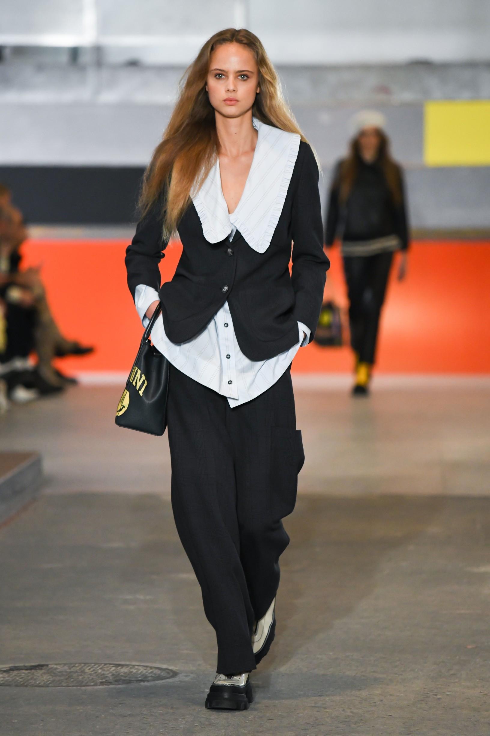 Model on the catwalk Ganni show, Runway, Fall Winter 2020, Copenhagen Fashion Week, Denmark - 30 Jan 2020,Image: 495661234, License: Rights-managed, Restrictions: , Model Release: no, Credit line: Cynthia Anderson / Shutterstock Editorial / Profimedia